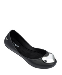 Start black rubber ballet flats