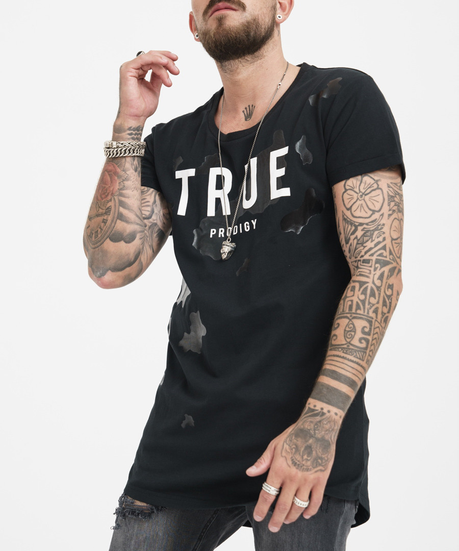 black pure cotton logo T-shirt Sale - true prodigy