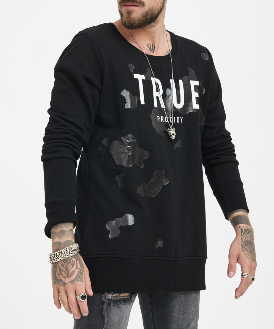 black pure cotton patch logo jumper Sale - true prodigy
