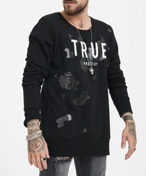 black pure cotton patch logo jumper
