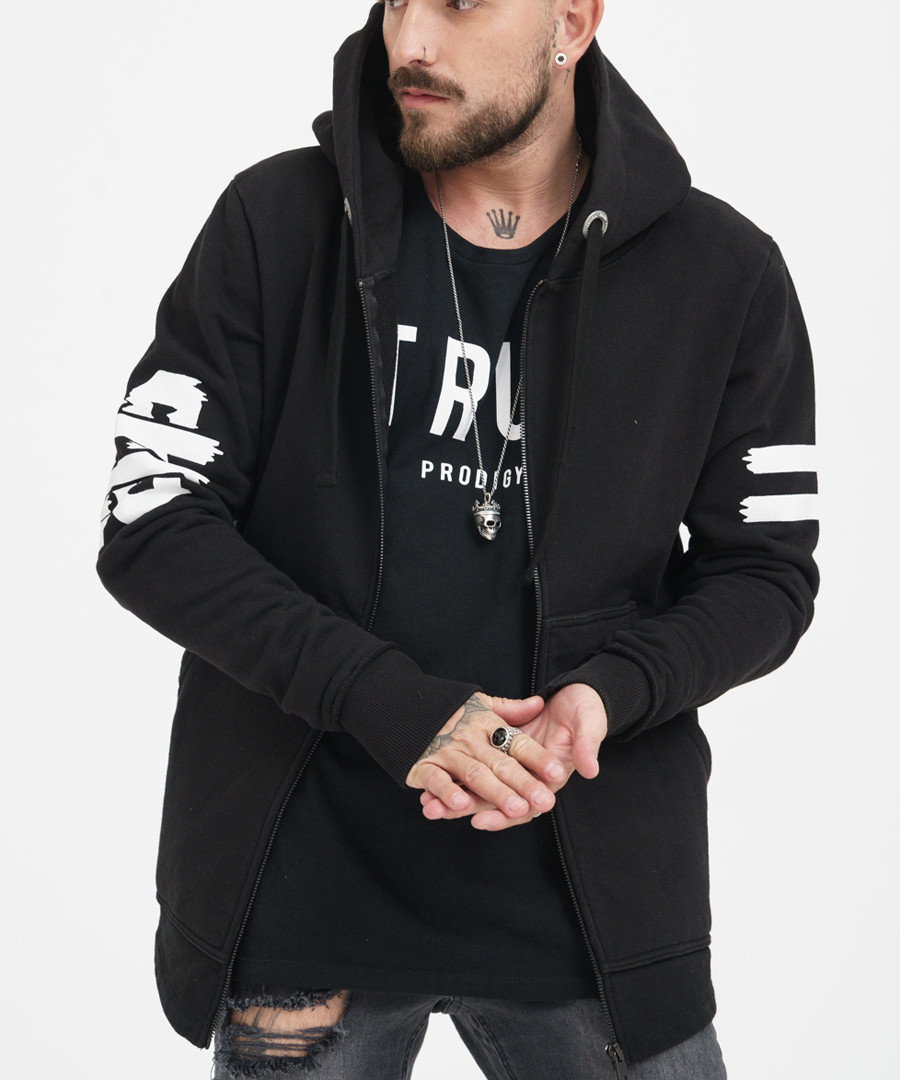 black pure cotton zip hoodie Sale - true prodigy