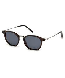 dark Havana rounded D-frame sunglasses