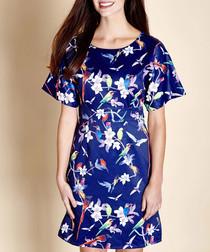 navy & tropical birds dress