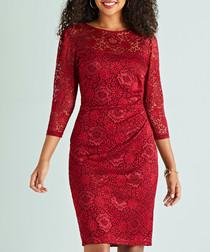 red floral lace brocade contour dress