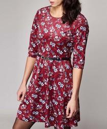burgundy floral waist-tie mini dress
