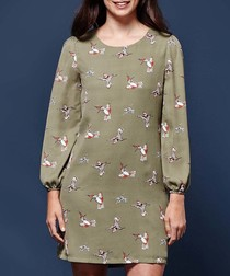 sage bloom relaxed mini dress