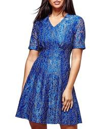 blue shimmer V-neck dress