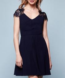 midnight lace shoulder mini dress