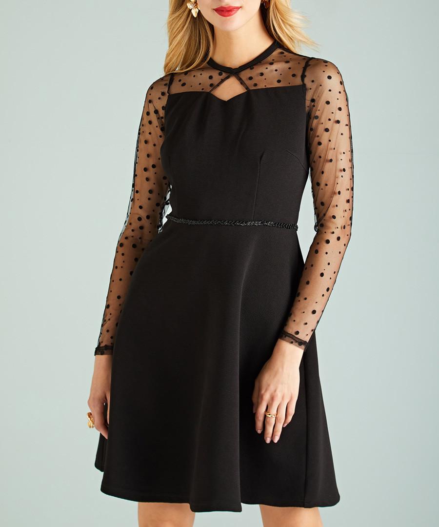 black sheer sleeve dress Sale - yumi