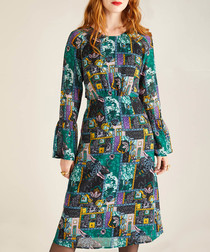 teal bar collage bell-sleeve dress