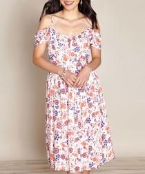white & violet floral bardot dress