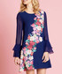 Navy floral sheer frill sleeve dress Sale - yumi Sale