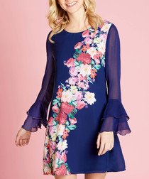 navy sheer-sleeve floral band dress