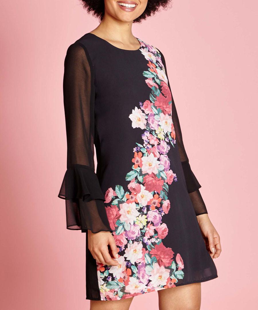 black sheer-sleeve floral band dress Sale - yumi