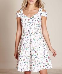 ivory cold-shoulder mix dress