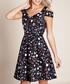 black cold-shoulder mix dress Sale - yumi Sale