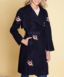 midnight pure cotton floral trenchcoat