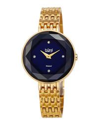 Gold-tone steel & diamond watch