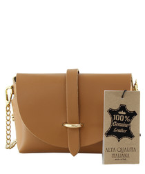 Tan leather chain shoulder bag