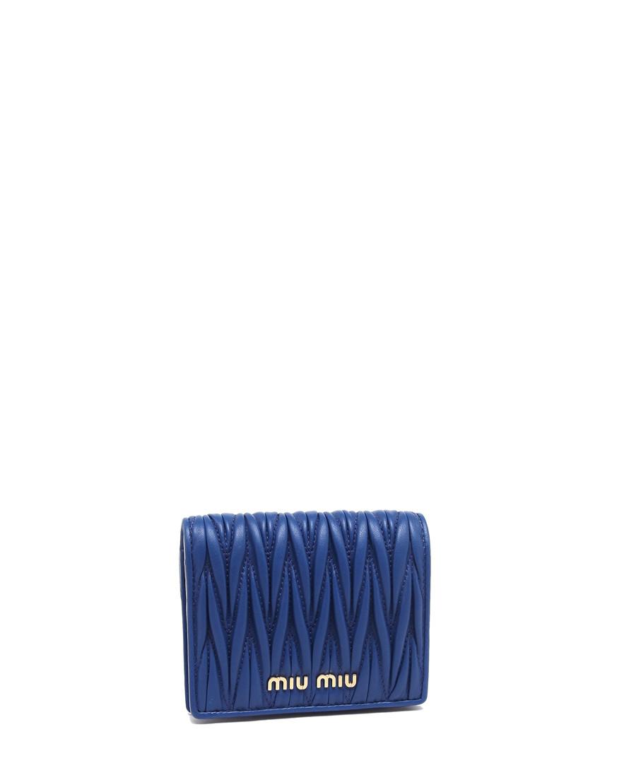 Matelassé blue leather fold purse Sale - Miu Miu