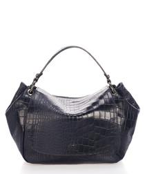 Elle navy moc-croc leather shoulder bag