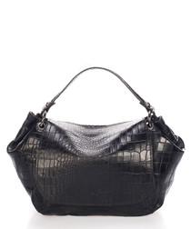 Elle black moc-croc leather shoulder bag