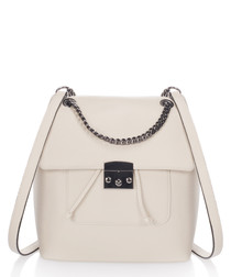Hailey beige leather chain backpack