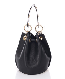 Selita black leather bucket bag