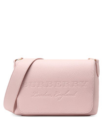Pink embossed leather crossbody