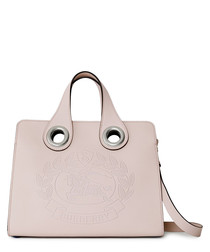 Grommet crest chalk pink leather tote