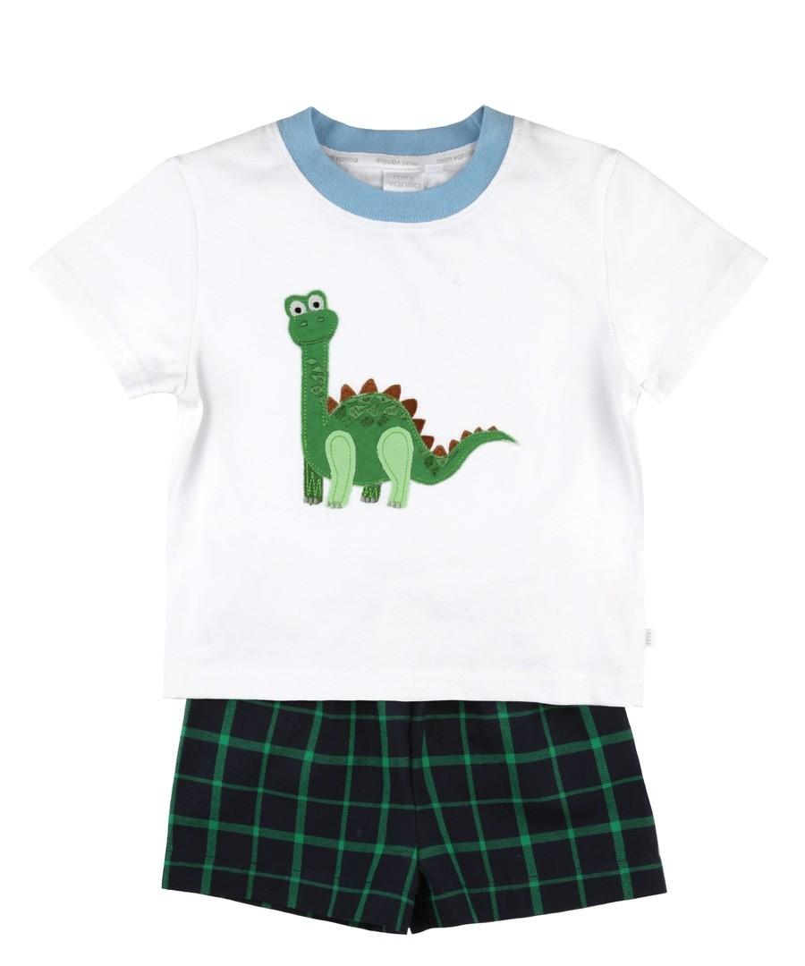 Boys Summer Shortie Dinosaur Pyjamas. Sale - Mini Vanilla