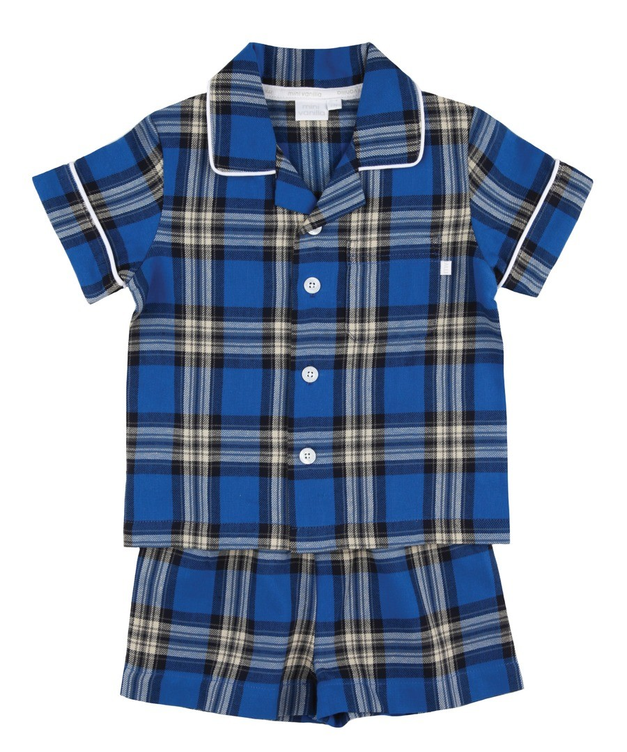 Boys Traditional Shortie Pyjamas. Sale - Mini Vanilla