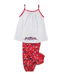 Girls Sleeveless Floral Pyjamas