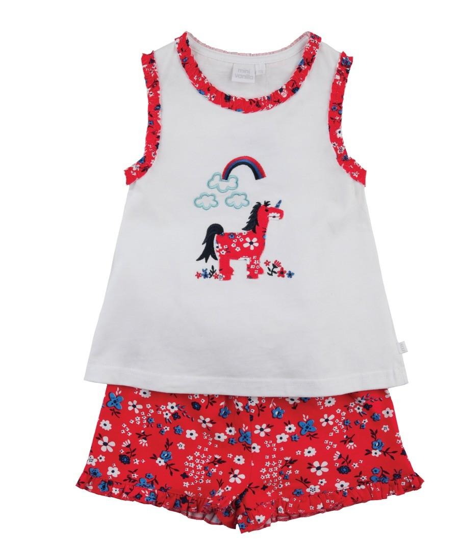 Girls Jersey Shortie Pyjamas. Sale - Mini Vanilla