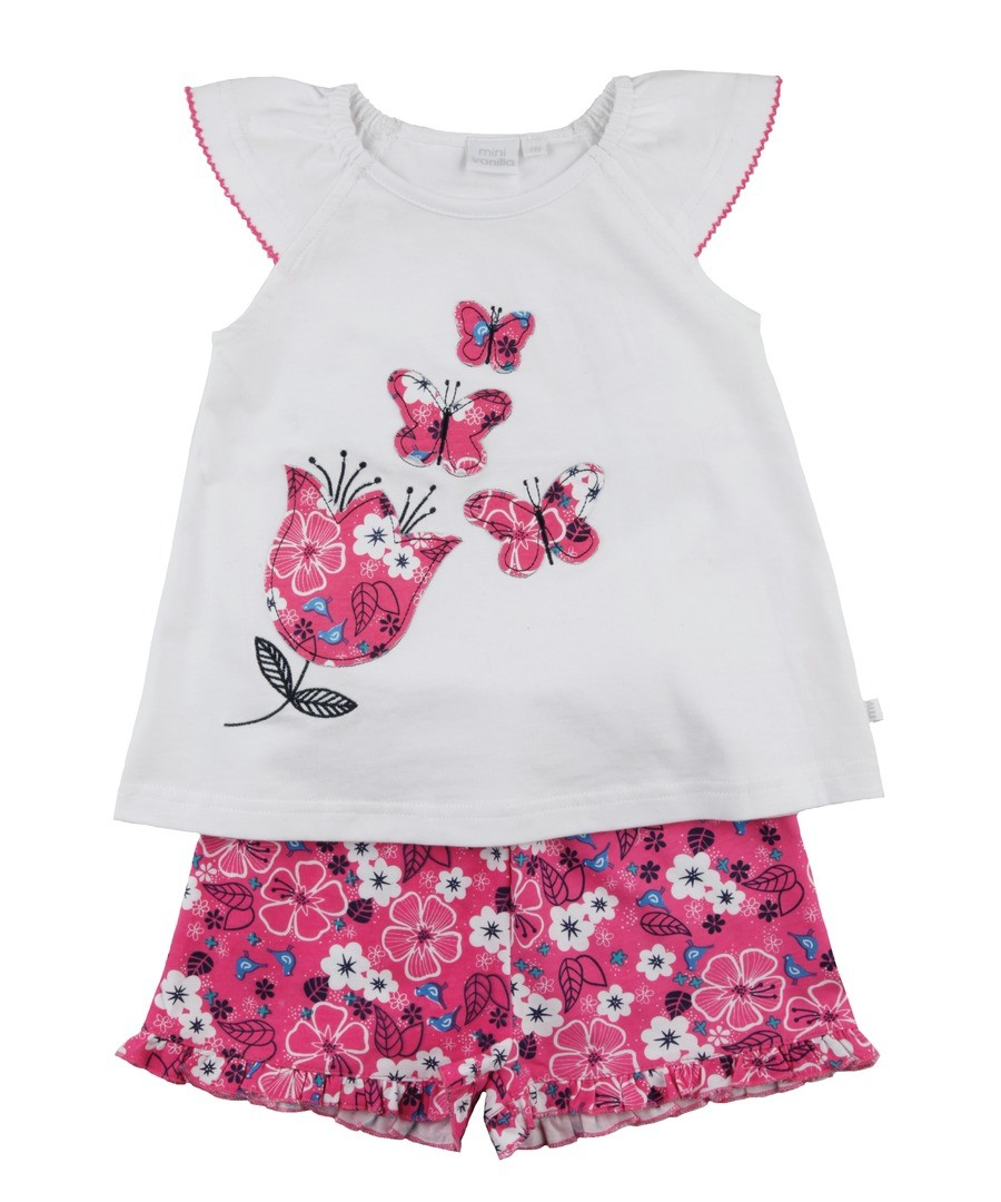 Girls Butterfly Shortie Pyjamas Sale - Mini Vanilla