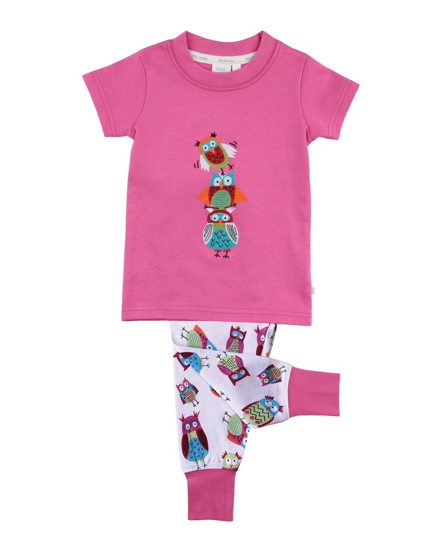 Girls Slim Fit Owl Pyjamas Sale - Mini Vanilla