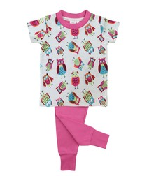 Girls Slim Fit Owl Pyjamas