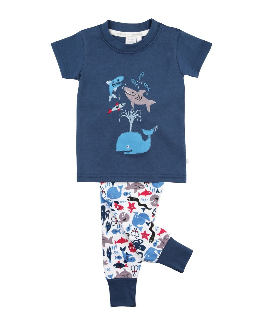 Boys Slim Fit Whale Pyjamas Sale - Mini Vanilla