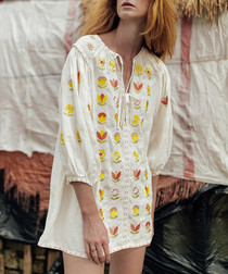 White pure linen embroidered smock dress