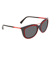 Grey & red rounded D-frame sunglasses