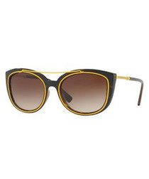 Grey & yellow rounded D-frame sunglasses