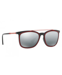 grey & red D-frame sunglasses