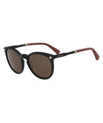 black rounded D-frame sunglasses