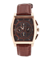 Carree brown & rose gold-tone watch