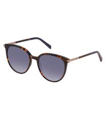 Havana & blue D-frame sunglasses