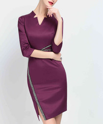 Plum asymmetric split front dress