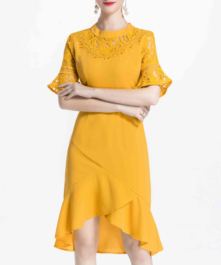Yellow hi-low ruffle hem dress Sale - lanelle