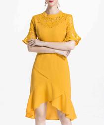 Yellow hi-low ruffle hem dress