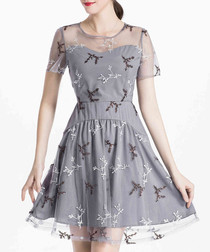 Grey sheer overlay mini dress