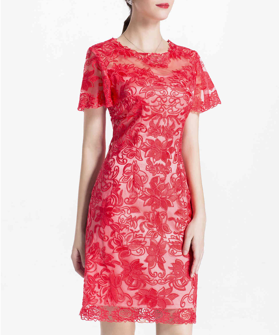 Red lace overlay mini dress Sale - lanelle